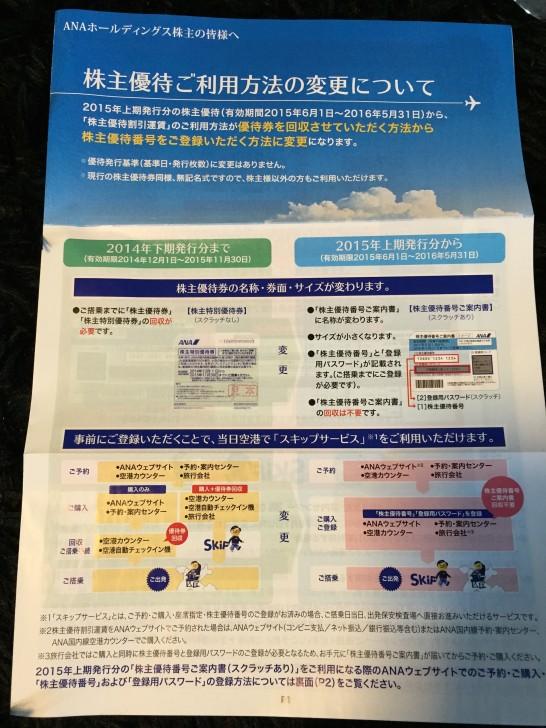 ANA 株主優待 2015 1