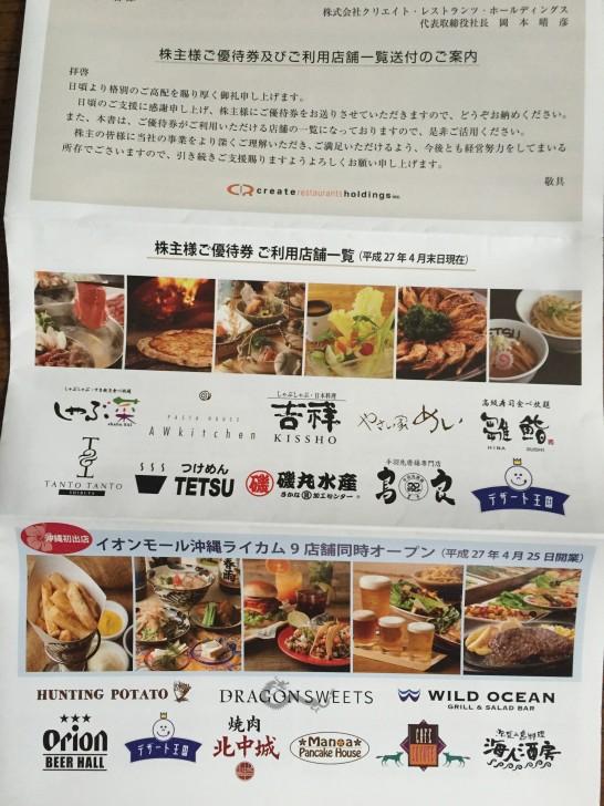 クリエイトレストランツホールディングス 株主優待 1