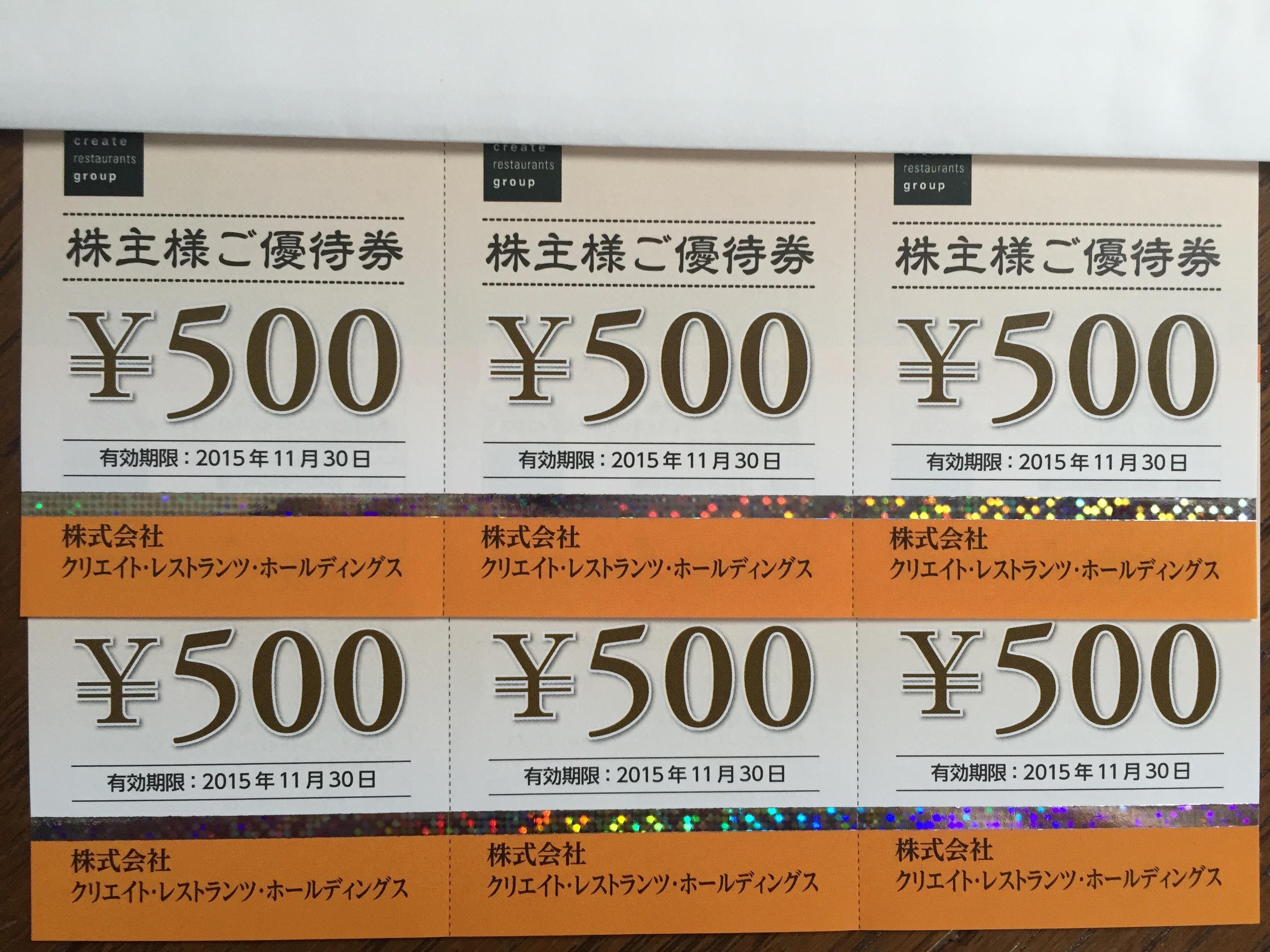 クリエイト・レストランツ・ホールディングス (3387) の店舗で使える株主優待が到着!!