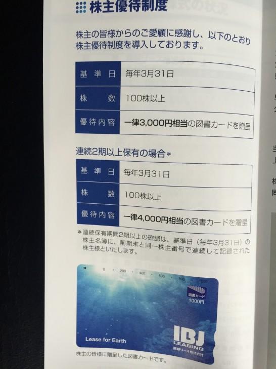 興銀リース 2015年 株主優待 2