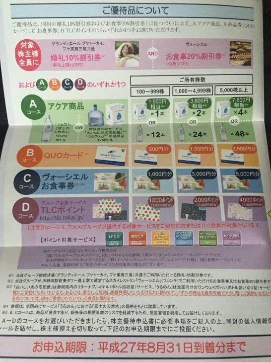 TOKAIホールディングス 株主優待3