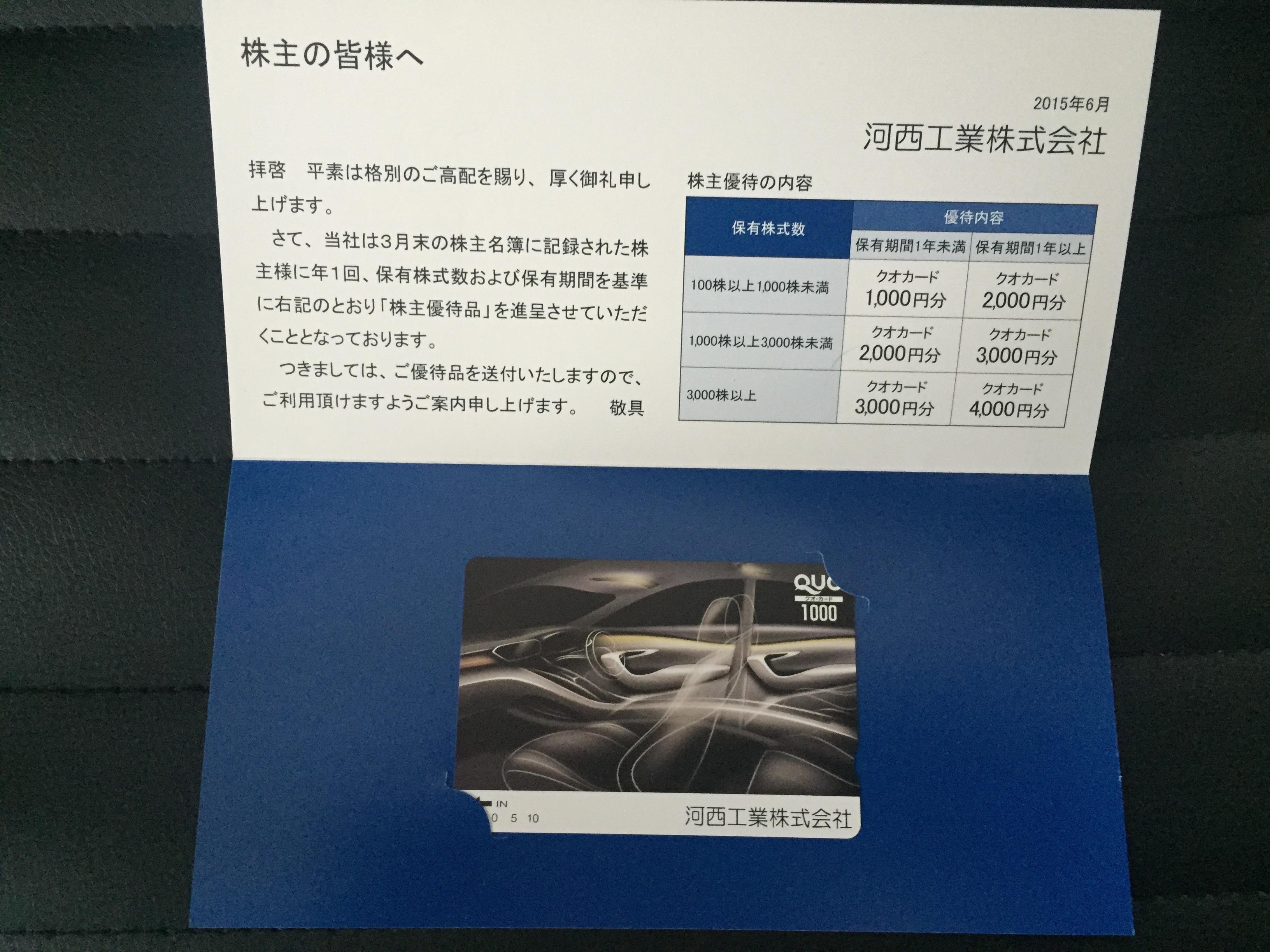 河西工業(7256)の株主優待を徹底解説!! 最大4,000円相当のクオカードがもらえます!!