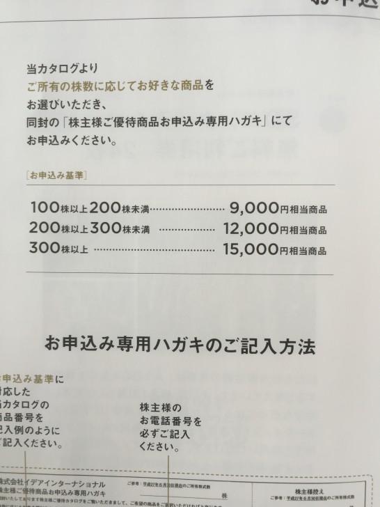 イデアインターナショナル 株主優待 2015 2