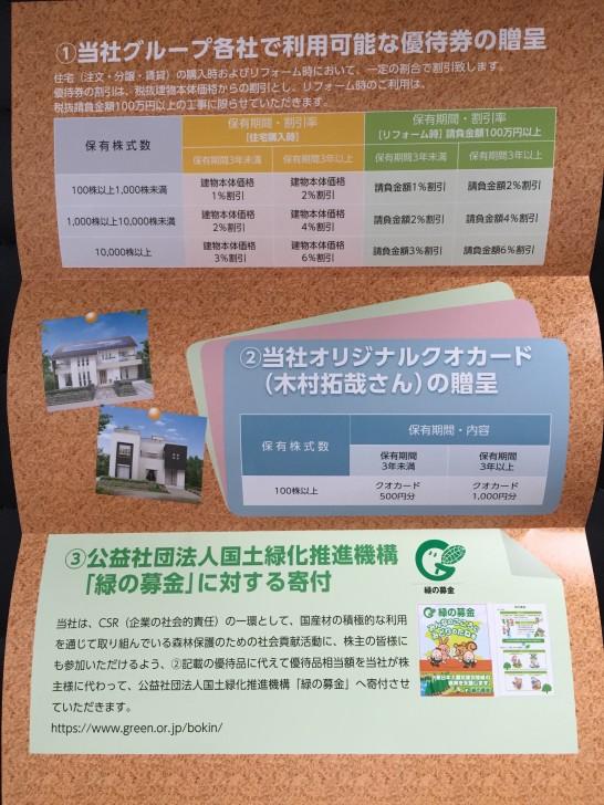 タマホーム 株主優待 2015-1