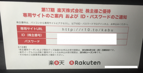 楽天 株主優待 2016年 1.1