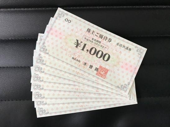 木曽路 株主優待 2016年 1