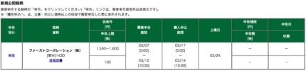 松井証券 ファーストコーポレーション 優先申し込み
