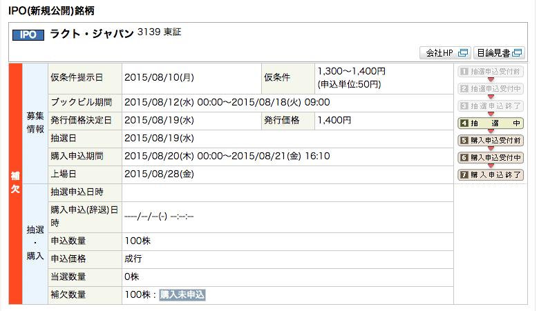 ラクトジャパン IPO 補欠