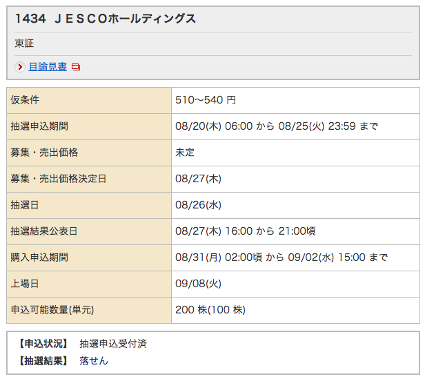 IPO JESCOホールディングス 野村 落選