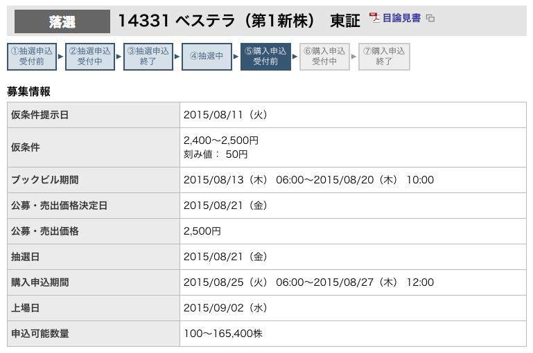 東海東京証券 ベステラ 落選