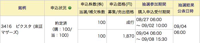 みずほ証券 IPO  ピクスタ 約定