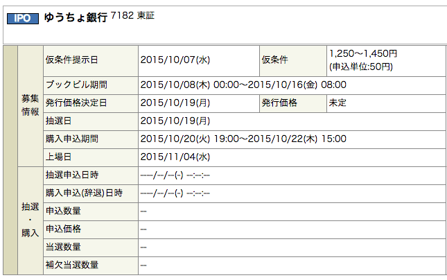 ゆうちょ銀行 日程
