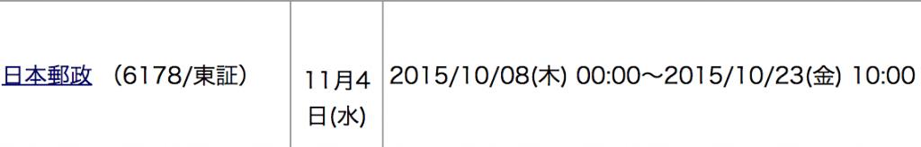 カブドットコム証券 日本郵政 申し込み期間 1