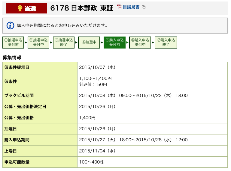 SMBCフレンド証券 日本郵政 当選