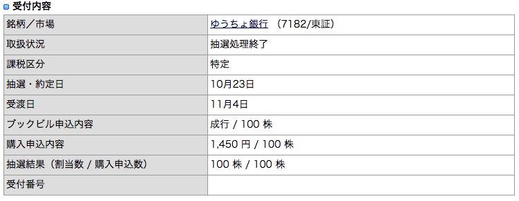 IPO ゆうちょ銀行 カブドットコム証券 当選 2