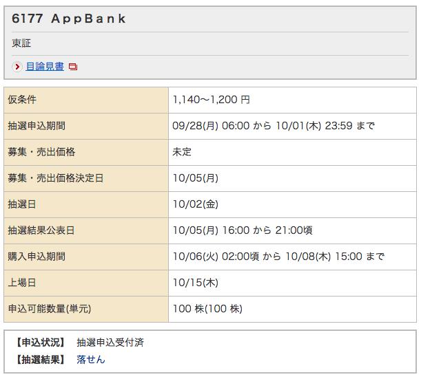 AppBank 野村 落選