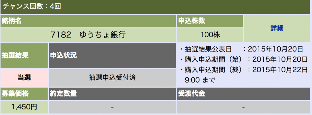 大和証券 ゆうちょ銀行 当選
