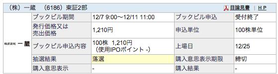 IPO 一蔵 SBI証券 落選