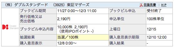 IPO ダブルスタンダード SBI証券 当選