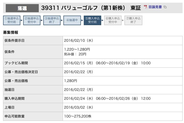 バリューゴルフ 東海東京 落選