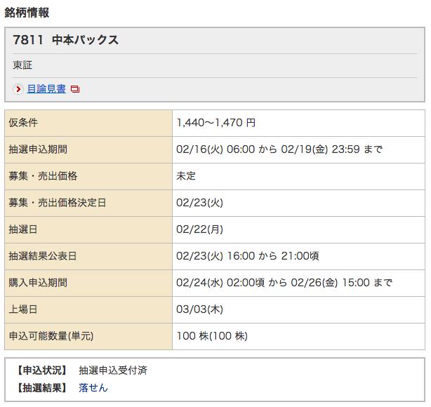 野村 中本パックス 落選