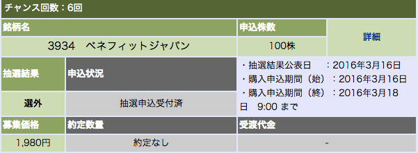 大和証券 ベネフィットジャパン 選外