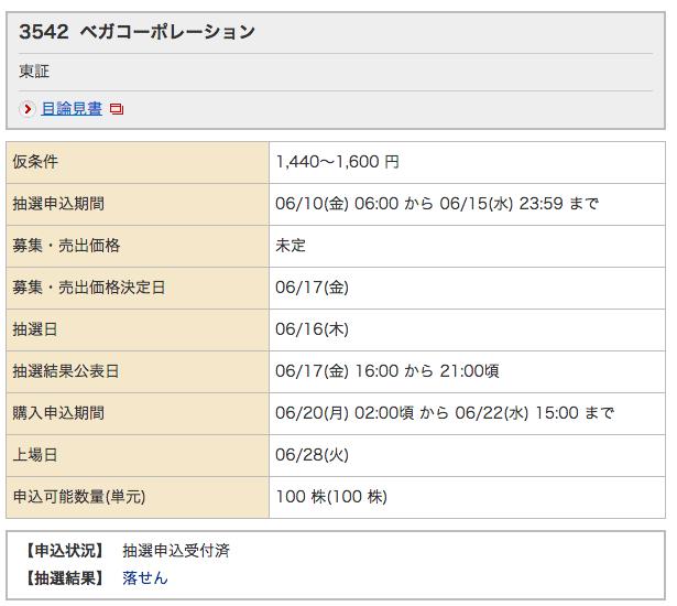 ベガコーポレーション IPO 落選 野村