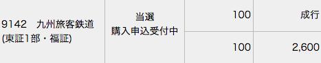 みずほ証券 JR九州 当選