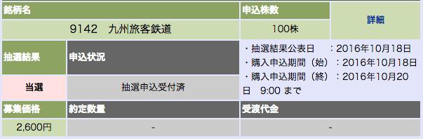 大和証券 JR九州 当選