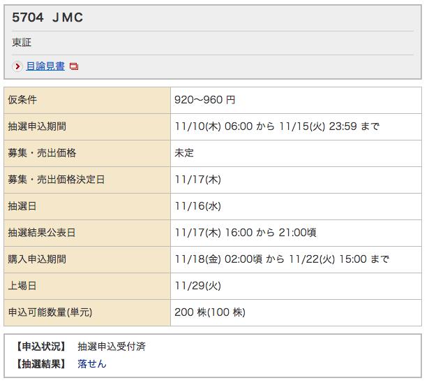 JMC 野村 落選