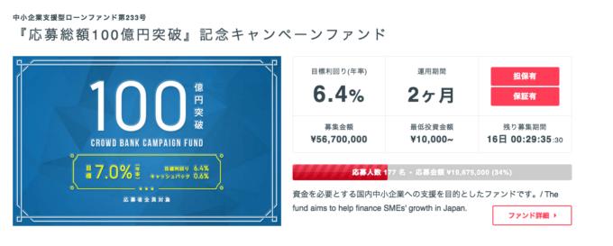クラウドバンク 100億円突破 2