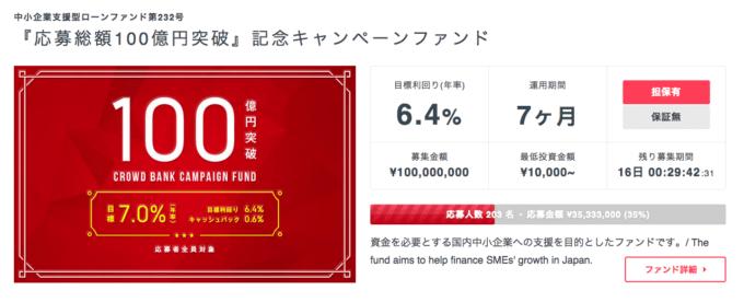 クラウドバンク 100億円突破 1